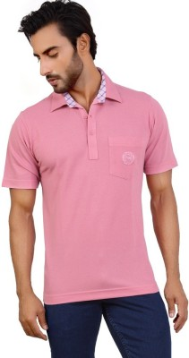 Valeta Solid Men's Polo Neck Pink T-Shirt