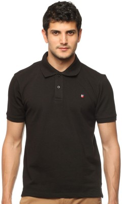 American Swan Solid Men's Polo Neck Black T-Shirt