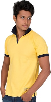 Furious Active Solid Men's Flap Collar Neck Yellow, Blue T-Shirt