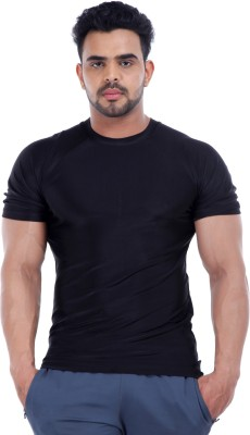 Male Basics Solid Men's Round Neck Black T-Shirt
