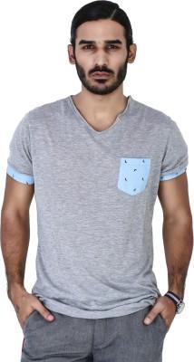 Mr Button Solid Men's V-neck Grey T-Shirt