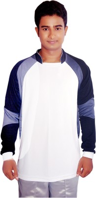 Dyed Colors Striped Men's Mandarin Collar White, Black T-Shirt