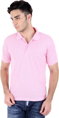 Rakshita's Collection Solid Men's Polo Pink T-Shirt