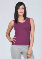 VIP Feelings Solid Women's Round Neck Purple T-Shirt