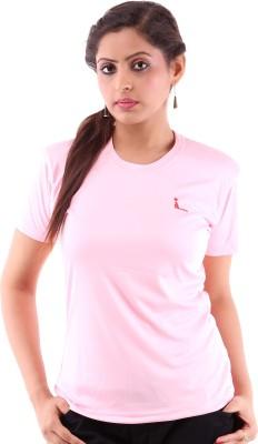 Miauw Solid Women's Round Neck Pink T-Shirt