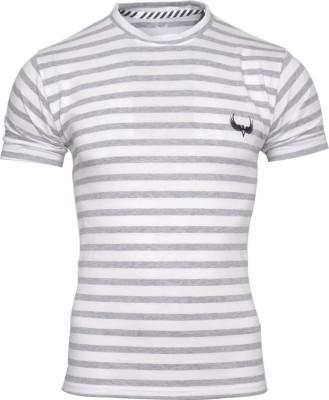 Avenster Sport Striped Men's Round Neck White, Grey T-Shirt