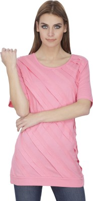 INDIA INC Self Design Women's Round Neck Pink T-Shirt