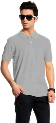 Brohood Solid Men's Polo Neck Grey T-Shirt