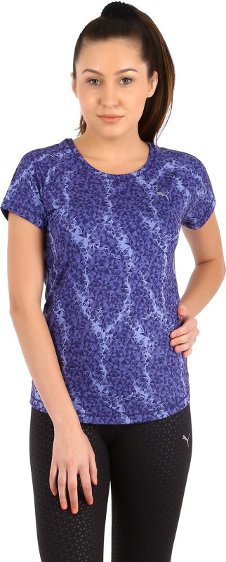 Puma Animal Print Women's Round Neck Blue T-Shirt