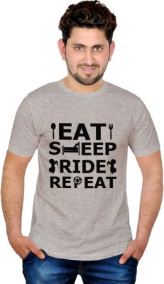 INKIT Graphic Print Men's Round Neck Grey T-Shirt