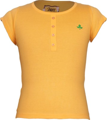 Jazzup Solid Girl's Round Neck Yellow T-Shirt