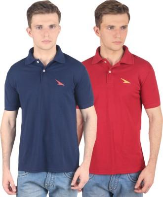 PRO Lapes Solid Men's Polo Neck Maroon, Dark Blue T-Shirt