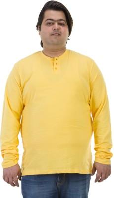 BIGBANANA Solid Men's Henley Yellow T-Shirt