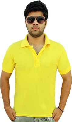 Christy's Collection Solid Men's Polo Neck Yellow T-Shirt