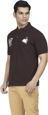 Fazator Embroidered Men's Polo Neck Brown T-Shirt
