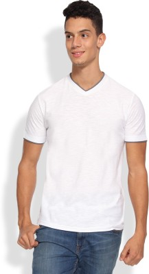 Arise Solid Men's V-neck White T-Shirt