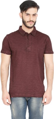 GOFLAUNT Solid Men's Polo Neck Brown T-Shirt