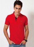 Riverstone Solid Men's Polo Neck Red T-S...