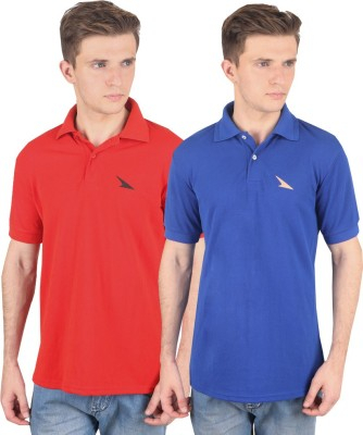 PRO Lapes Solid Men's Polo Neck Red, Blue T-Shirt