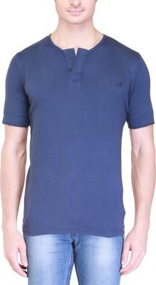 Clst Solid Men's Henley Blue T-Shirt