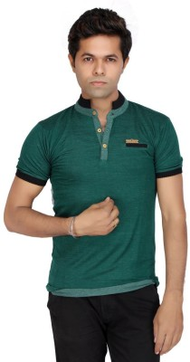 JG FORCEMAN Solid Men's Mock Neck Green T-Shirt