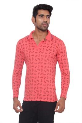 Pezzava Self Design Men's Flap Collar Neck Reversible Pink, Black T-Shirt