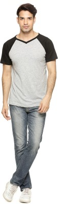 Being Crazy Solid Men,s V-neck Grey T-Shirt