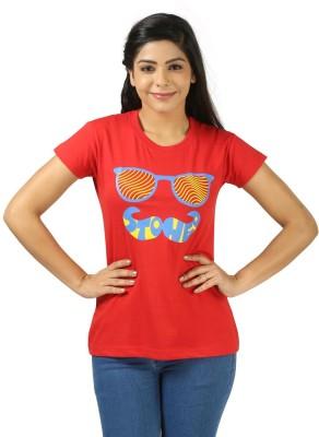 Shopdayz Printed Women's Round Neck Red T-Shirt