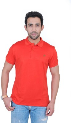 Fabnavitas Embroidered Men's Polo Neck Red T-Shirt