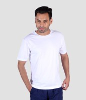 Humbert Solid Men's Round Neck White T-Shirt