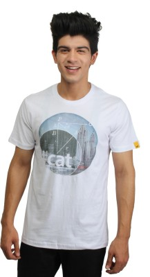 CAT Graphic Print Men's Round Neck White T-Shirt