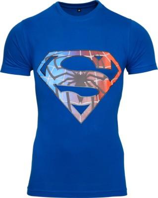 Mangoman Printed Men's Round Neck Blue T-Shirt