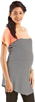 Kriti Western Maternity Printed Women's Round Neck Multicolor T-Shirt