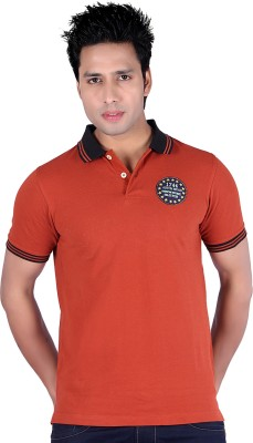 Austin Wood Solid Men's Polo Neck Red T-Shirt