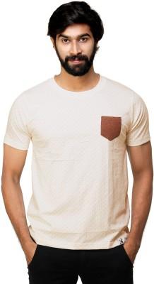0EM Polka Print Men's Round Neck Beige T-Shirt