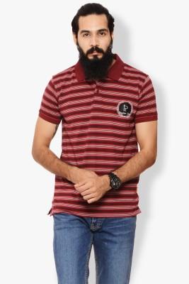 Italian Polo Striped Men's Polo Neck Red T-Shirt