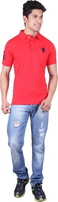 Jura Polo Solid Men's Polo Neck Red T-Shirt