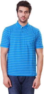 D-Green Striped Men's Polo Blue T-Shirt