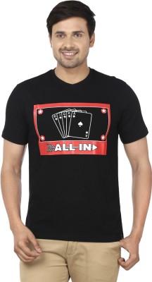 Ruse Printed Men's Round Neck Black T-Shirt