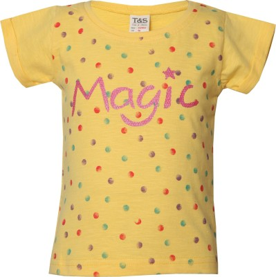 Tales & Stories Printed Baby Girl's Round Neck Yellow T-Shirt