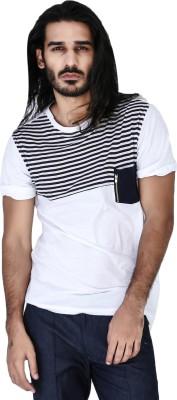 Mr Button Striped Men's Round Neck White T-Shirt