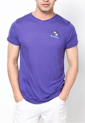 Blacksoul Solid Men's V-neck Purple T-Shirt