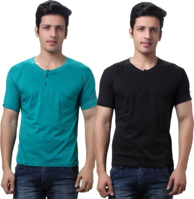 TeeMoods Solid Men's Henley Black, Green T-Shirt