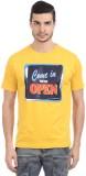 Orange Plum Printed Men's Round Neck Yel...