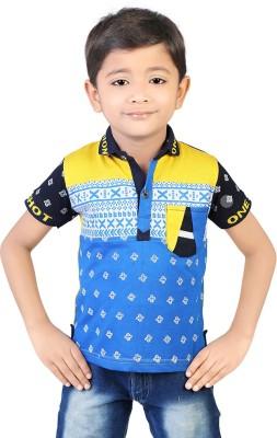 Koolkids Printed Boy's Flap Collar Neck Blue T-Shirt