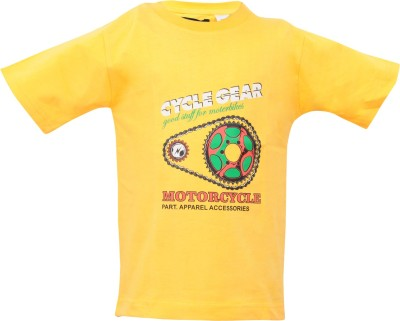 Mintees Graphic Print Boy's Round Neck Yellow T-Shirt