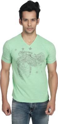 Killer Printed Men's V-neck Green T-Shirt