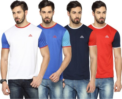 Canyons Solid Men's Round Neck White, Blue, Dark Blue, Red T-Shirt