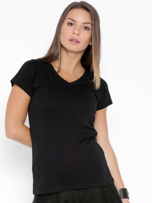 Go-Art Printed Women,s V-neck Black T-Shirt