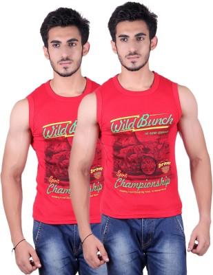 White Moon Printed Men's Round Neck Red T-Shirt